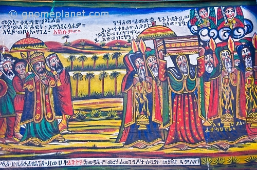 caption: Painting in the new church of 'St Mary of Zion' showing the Ark being carried to Ethiopia by King Menelik.