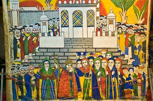 caption: Painting in the old church of 'St Mary of Zion' showing religious gathering outside the old church of 'St Mary of Zion'.