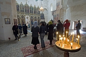 Eastern Orthodox worshippers gather for mass at the Ananuri Monastery.
