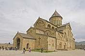 Worshippers leave the Svetitskhoveli Cathedral.