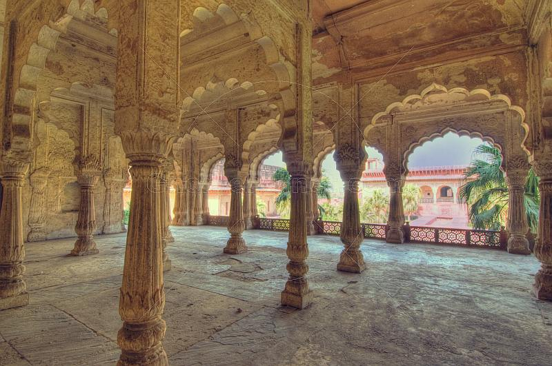 Colonades in the interior of the Suraj Bhavan.