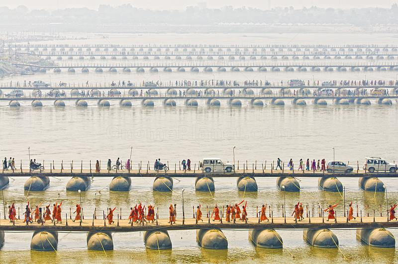 Parallel lines of pontoon bridges crossing the Ganges River at Allahabad.