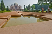 A pool of water cools the air around Humayun's Tomb.
