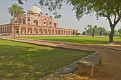 The lawns and trees around Humayun's Tomb.