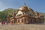 Indian pilgrims visit the Cenotaph of Maharaja Bakhtawar Singh, which is made of marble on a red sandstone base.