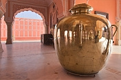 In the Sarbato Bhadra stands one of the two huge silver urns used to transport Ganga water to England.