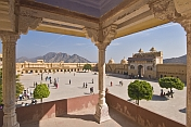 Looking out over the Jaleb Chowk at the Amber Fort, a gathering place and parade ground for soldiers.