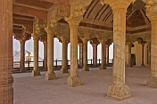 Ornate carved columns in the pattern of elephant heads and vines in Amber Palace's Diwan-I-Am, the Hall of audience.