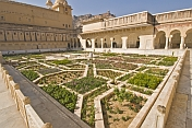 A formal garden in the Jai Singh I courtyard of the Amber Palace.