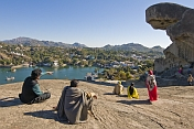 An Indian family admire the view over Nakki Lake, the centre-point of the Rajasthan hill station.