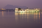 Twilight behind the Lake Palace Hotel on Lake Pichola.