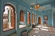 India, Rajasthan, Udaipur. Blue and white painted womens quarters of the City Palace.