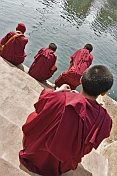 Buddhist monks feed the fish with bread in the tank at the Mahabodhi Temple.