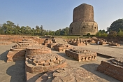 The 5thC Dhamekh Stupa at Sarnath, where the Buddha gave his first sermon in the deer park.