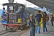 A steam-hauled train pulls into Darjeeling station.