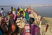 Crowds Cross Pontoon Bridge Over Ganges River