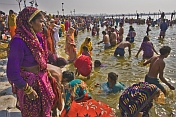 Mass Crowds Bathe In Ganges On The Day Of Basant Panchami Snana