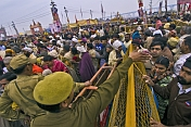 Police Control The Crowds At Basant Panchami Snana Procession