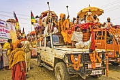 Highly Decorated Jeeps In Basant Panchami Snana Procession