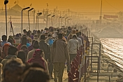 Mass Crowds Of Pilgrims Cross A Ganges River Pontoon Bridge