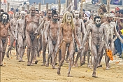 Naked Naga Holy Men Return In Procession From Holy River Bathing