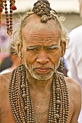 Elderly Hindu Holy Man With Rudraksha Bead Necklaces