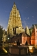 Image of The towers of the Mahabodhi Temple at sunset.