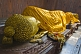 Image of A floral wreath is placed next to the 6m recumbent statue of the dying Buddha in the Parinivarna Temple.