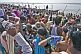 Mass crowds of Hindu pilgrims bathe at Ganges Sangam on Basant Panchami Snana.