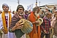 Image of Hindu musicians with tabla and cymbals in Basant Panchami Snana Procession.