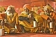 Image of Three saffron-clad Hindu Holy Men wait for alms in Juna Akhara festival tent.