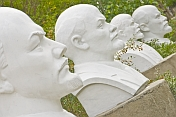 Statues of Lenin in the Communist statue-graveyard, near the Irtysh River, in old Semipalatinsk.