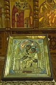 Golden-encased icon of the Madonna and Child in Saint Nicholas Cathedral.