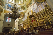Chandelier and golden icon screen in the Zenkov Cathedral.