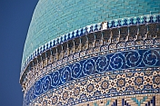 Blue tiled dome of the Yasaui Mausoleum.