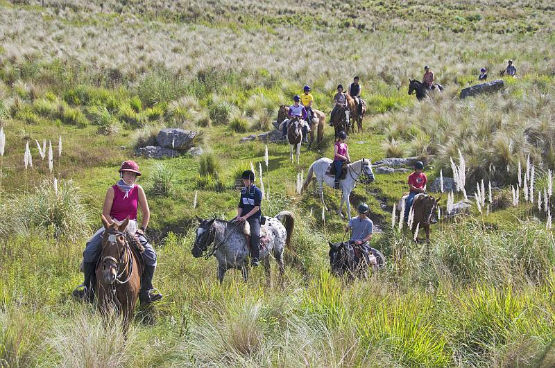 Horse-back trekker group at the Estancia Los Potreros.