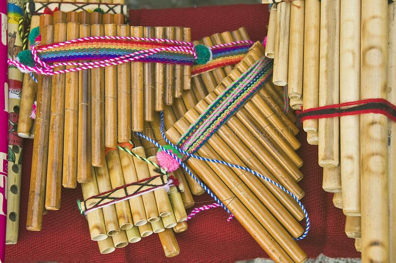 A selection of Andean panpipes known locally as zampona.