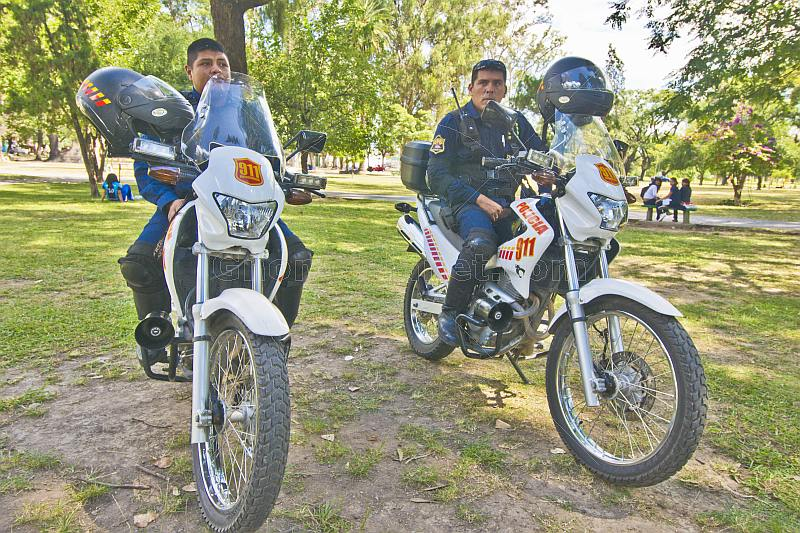 Policemen on motorcycles waiting in San Martin Park.