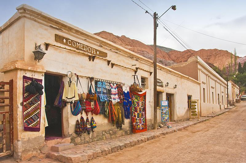 Shop selling knitted and woven gifts at the Purmamarca Market.