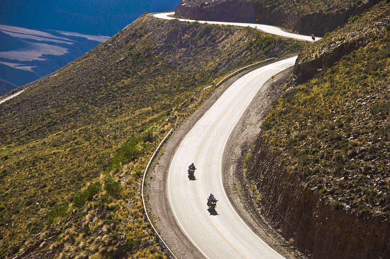 Motorcyclists on the Cuesta de Lipan - a section of steep zigzag road on the National Route 52 highway.