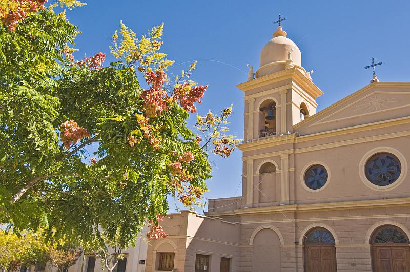 Towers of the Cafayate Cathedral on the Plaza Principal.