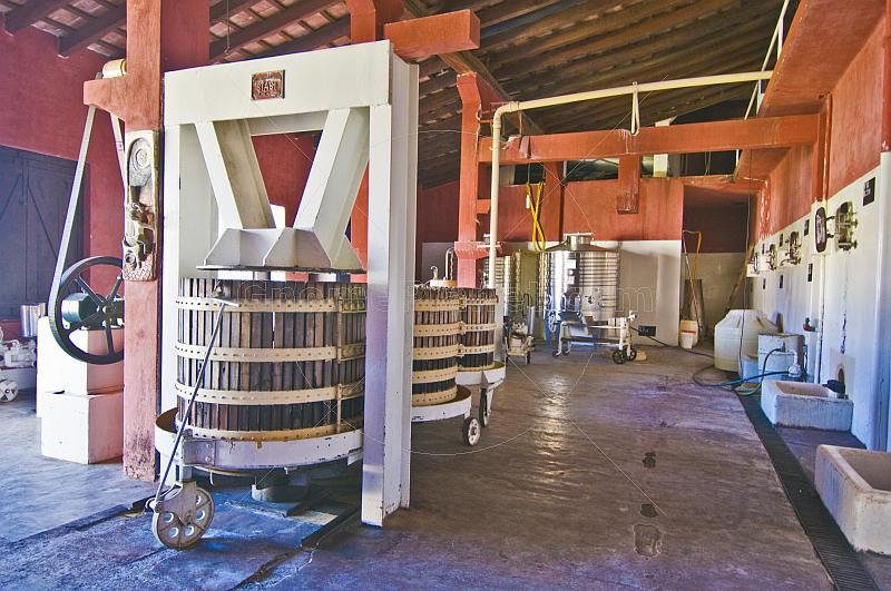 Wine pressing equipment in the Bodega Nanni winery.