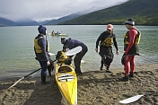 Canoers kayaking on the Beagle Channel.