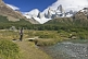 Image of Trekker views the Fitzroy Mountains in the Parque Nacional Los Glaciares.
