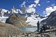 Image of Trekkers view the Fitzroy Mountains in the Parque Nacional Los Glaciares.