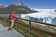 Image of Trekker watching the Moreno Glacier in the Parque Nacional Los Glaciares.