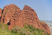 The red cliffs of the Sarycat Ertas Nature Reserve.