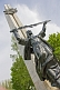 Image of WW II war memorial statue with Sword of Victory in the Karakol Park.