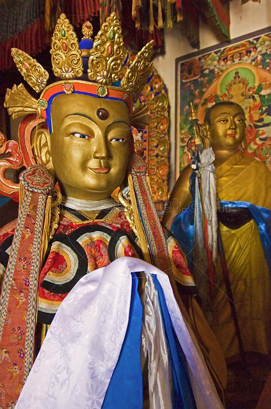 Statues of Buddha and monk at the Erdene Zuu Khiid (Hundred Treasures Monastery).