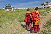 Two young monks walk to class at the Erdene Zuu Khiid (Hundred Treasures Monastery).